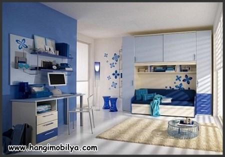 Mavi çocuk odası dekorasyonu